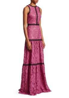 ML Monique Lhuillier Sleeveless Lace Trim Gown
