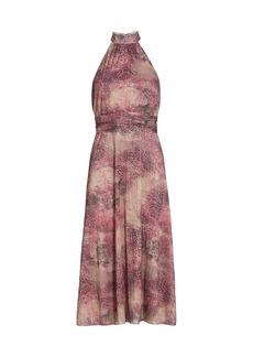 ML Monique Lhuillier Sparkle Tie-Dye Animal-Print Pleated Halter Midi Dress