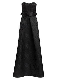 ML Monique Lhuillier Strapless Floral Jacquard Peplum Gown