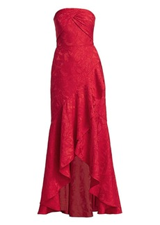ML Monique Lhuillier Strapless Tucked Lace Gown