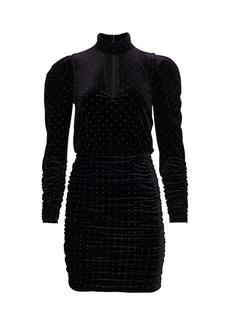 ML Monique Lhuillier Studded Velvet Mini Dress