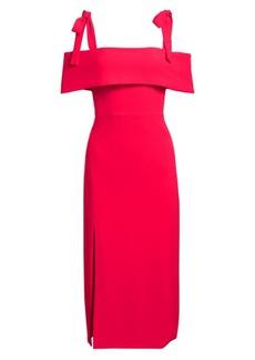ML Monique Lhuillier Tie Shoulder Sheath Dress
