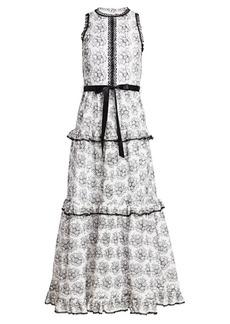 ML Monique Lhuillier Tiered Floral Dress