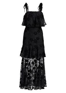 ML Monique Lhuillier Tiered Floral Flounce Dress
