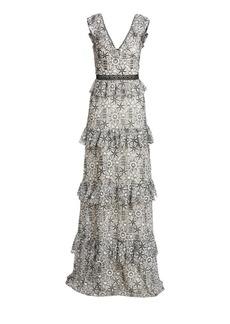 ML Monique Lhuillier Tiered Floral-Jacquard A-Line Gown