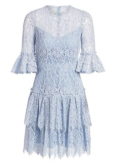 ML Monique Lhuillier Tiered Lace Bell-Sleeve Dress