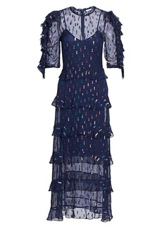 ML Monique Lhuillier Tiered Silk & Metallic Midi Dress