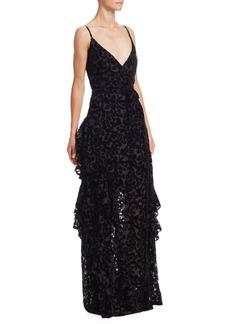 ML Monique Lhuillier Tiered Velvet Burnout Gown