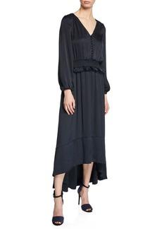 ML Monique Lhuillier V-Neck Blouson-Sleeve Satin High-Low Dress