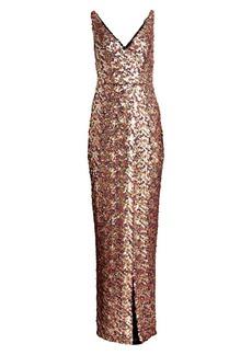 ML Monique Lhuillier V-Neck Sequin Gown