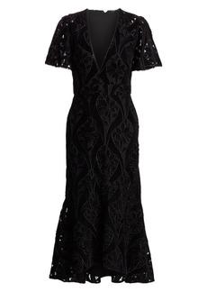 ML Monique Lhuillier Velvet Lace Midi Dress