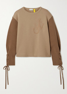Moncler 1 Jw Anderson Two-tone Embroidered Cotton-jersey And Wool Top