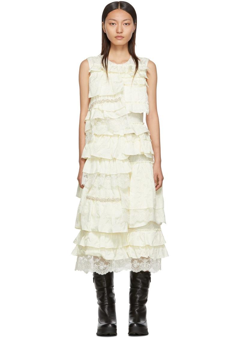 4 Moncler Simone Rocha Off-White Ruffle Dress