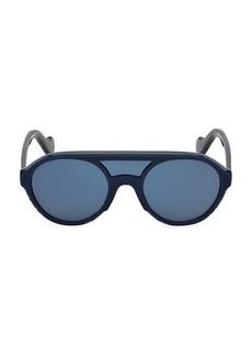 Moncler 51MM Injected Double Bridge Round Sunglasses