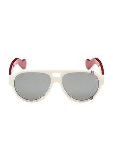 Moncler 57MM Rounded Aviator Sunglasses
