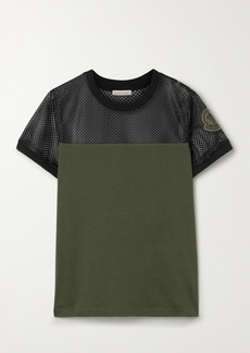 Moncler Appliquéd Mesh And Cotton-jersey T-shirt