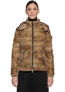 Moncler Bady Leopard Print Velvet Down Jacket