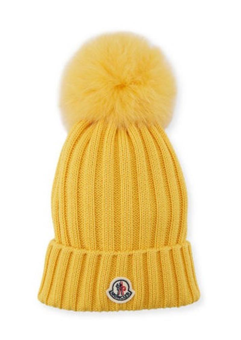 7379a5c8b9547 Moncler Berretto Knit Hat w  Fur Pompom