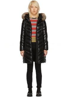 Moncler Black Down & Fur Fulmar Coat