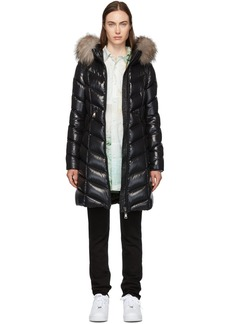 Moncler Black Down & Fur Fulmarus Coat