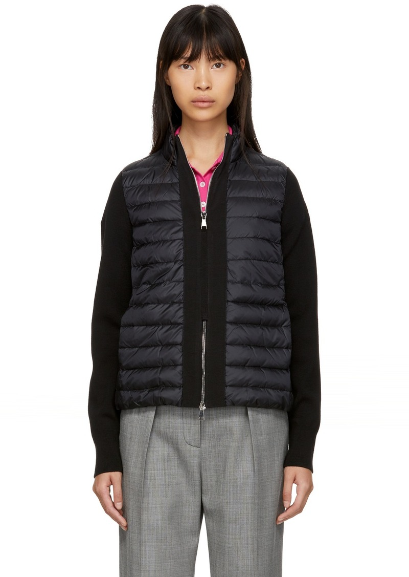 Moncler Black Down Knit Combo Jacket