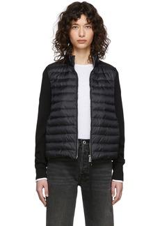 Moncler Black Down Knit Zip-Up Jacket