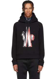 Moncler Black Embroidered Logo Hoodie