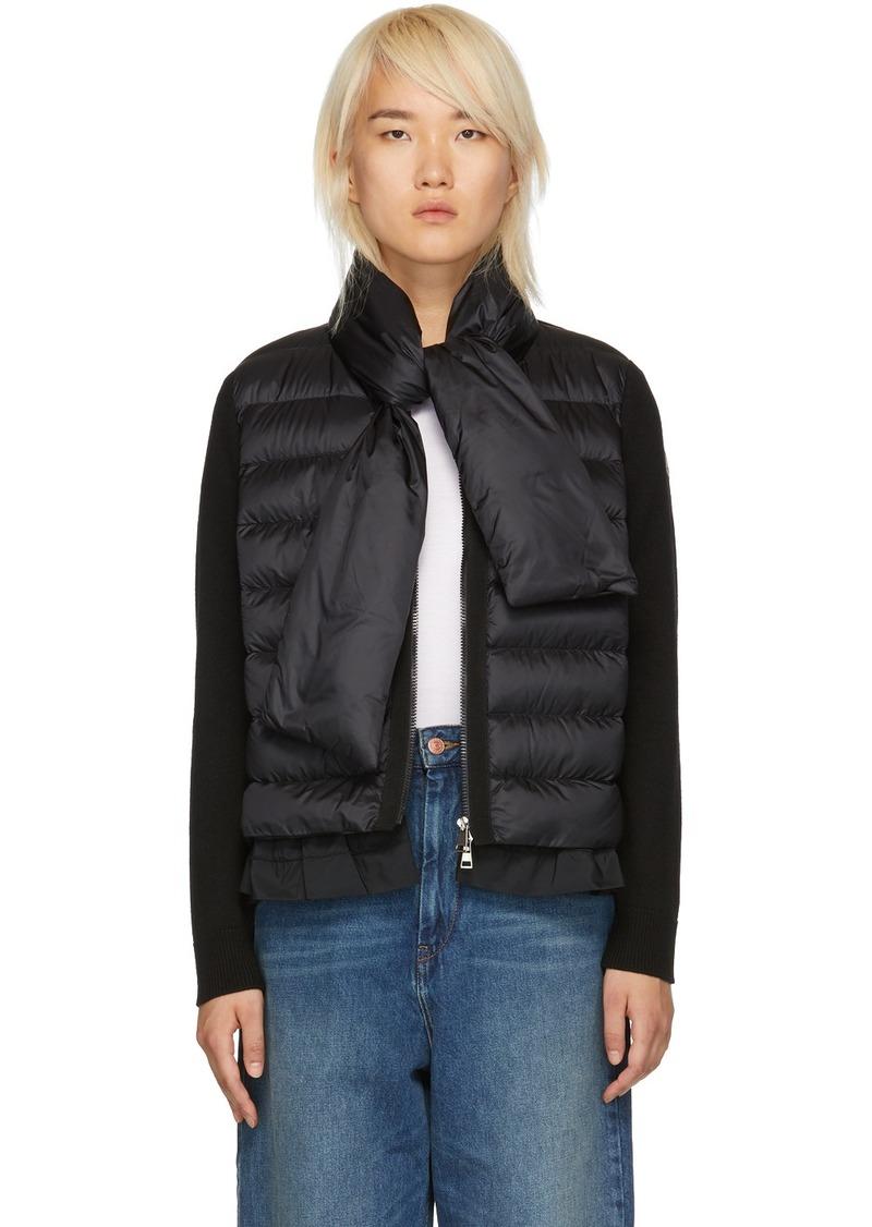 Moncler Black Knit & Down Scarf Jacket