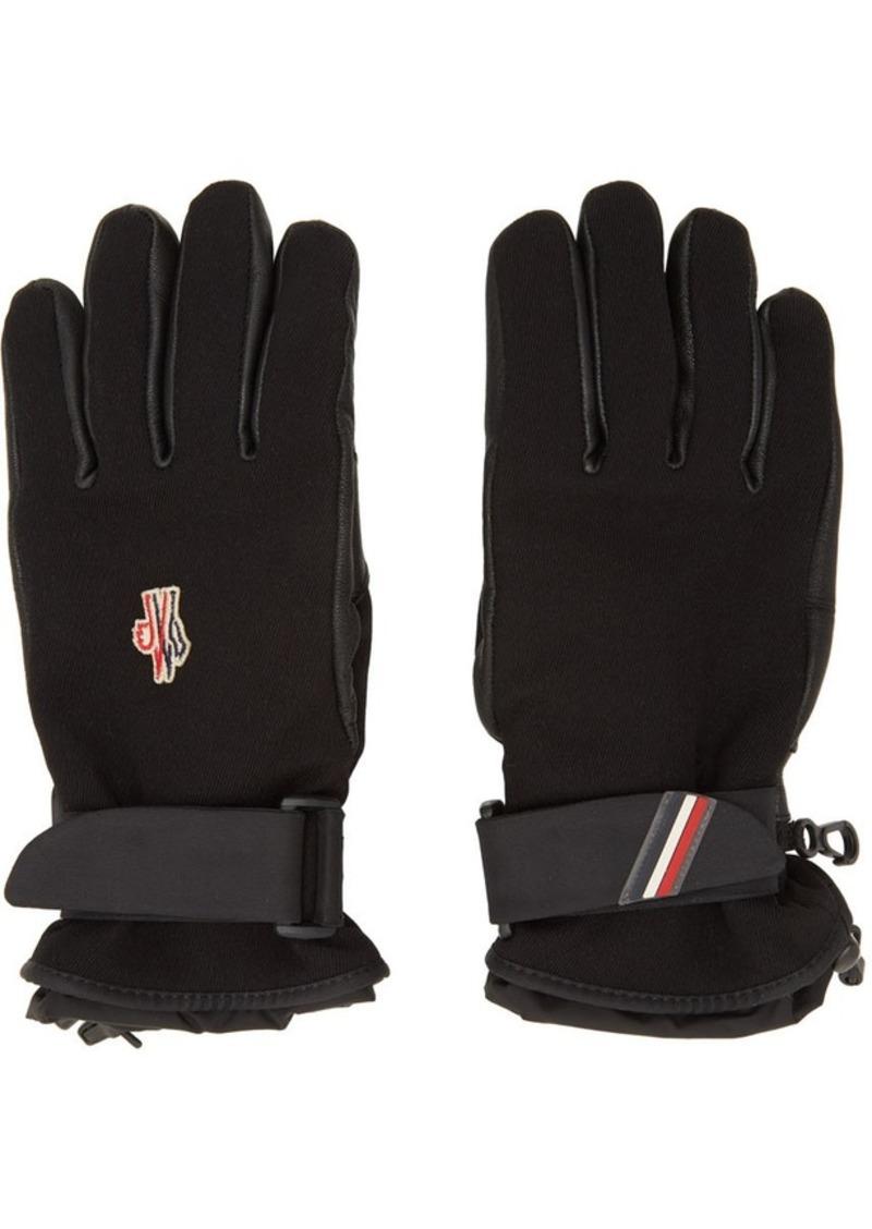 Moncler Black Leather Palm Gloves
