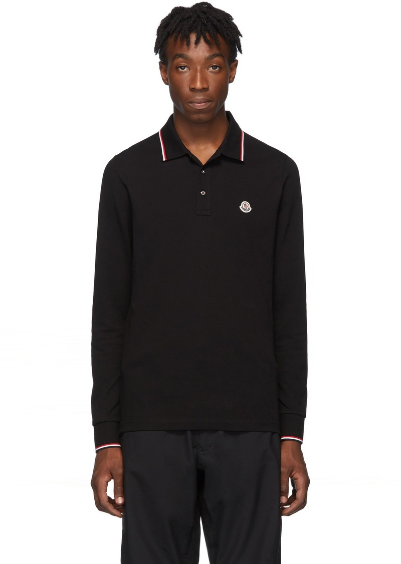 Moncler Black Logo Long Sleeve Polo
