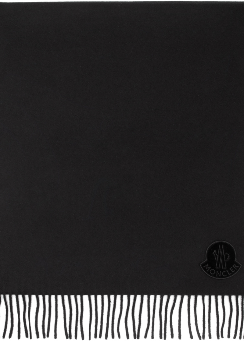 Moncler Black Wool Logo Scarf