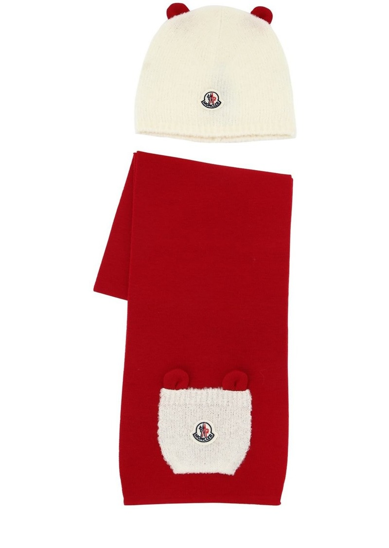 Moncler Boucle Wool Hat & Scarf