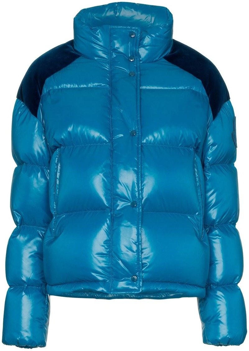 Moncler Chouette feather down and velvet puffer jacket