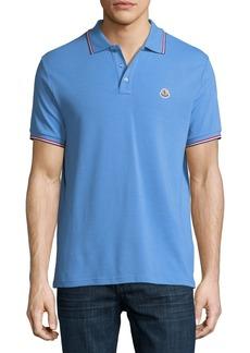 Moncler Classic Pique Patch Polo Shirt  Cornflower Blue