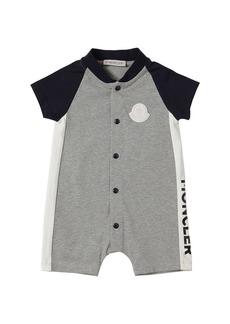 Moncler Cotton Jersey Romper W/ Logo Print