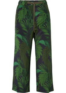 Moncler Cropped Printed Silk Straight-leg Pants
