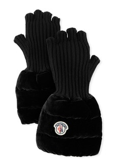 Moncler Fingerless Ribbed Wool Gloves w/Velvet Puffer Combo