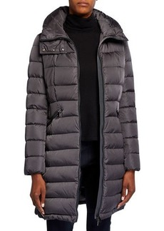 Moncler Flammette High-Neck Puffer Coat  Olive