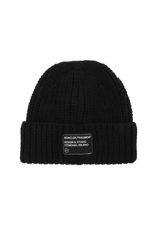 Moncler Fragment Logo Patch Wool Beanie Hat