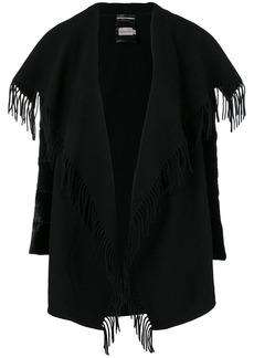 Moncler fringed open cape
