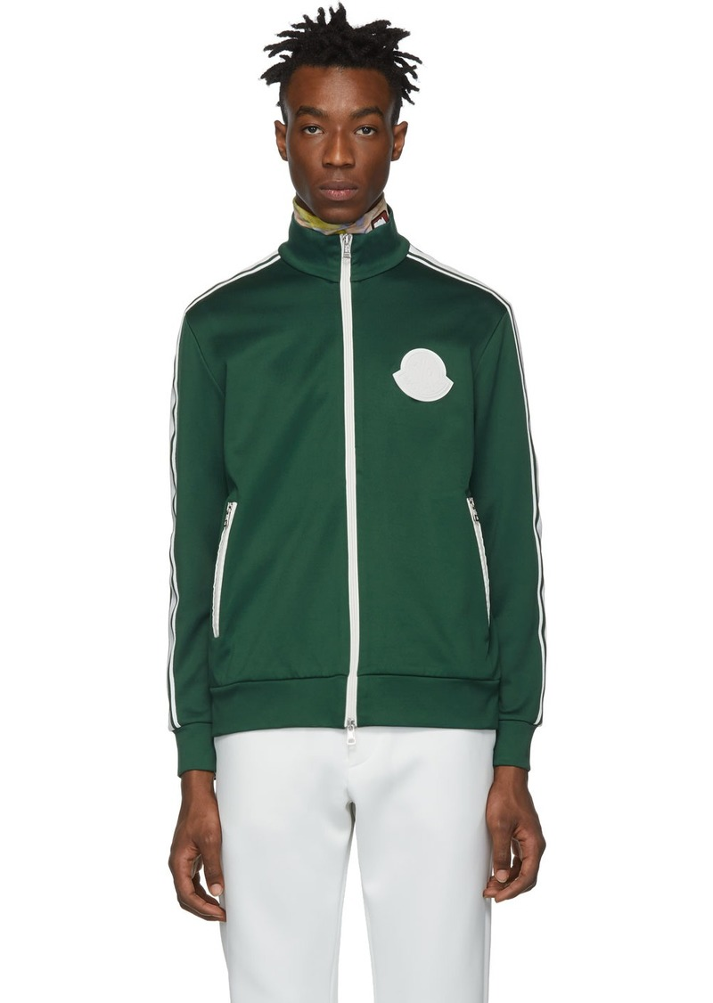 Moncler Green Jersey Zip Up Sweater
