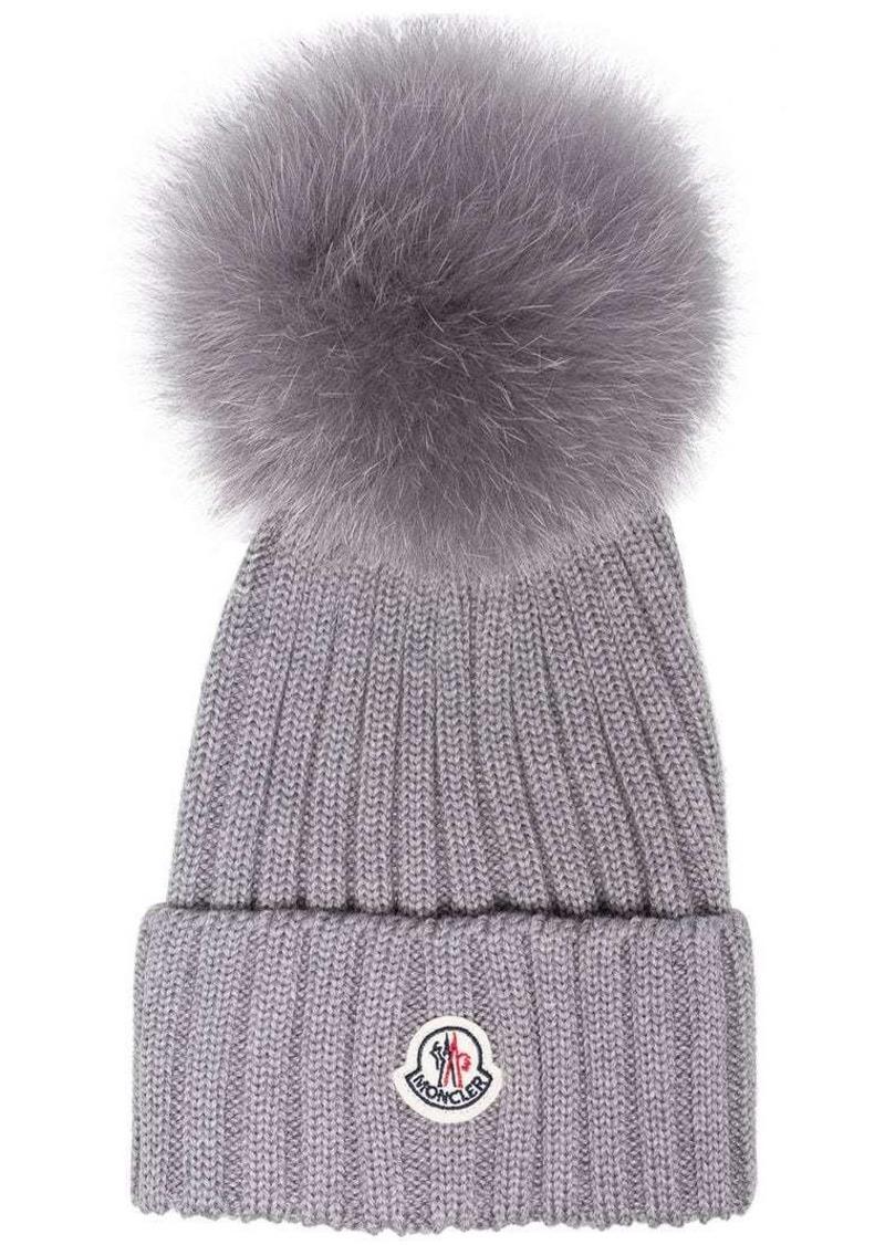 f3ade69cc0e Moncler Grey wool beanie hat with pom pom