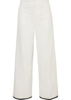 Moncler Grosgrain-trimmed Cotton-blend Gabardine Wide-leg Pants