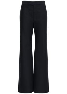 Moncler High Waist Wool & Cotton Gabardine Pants