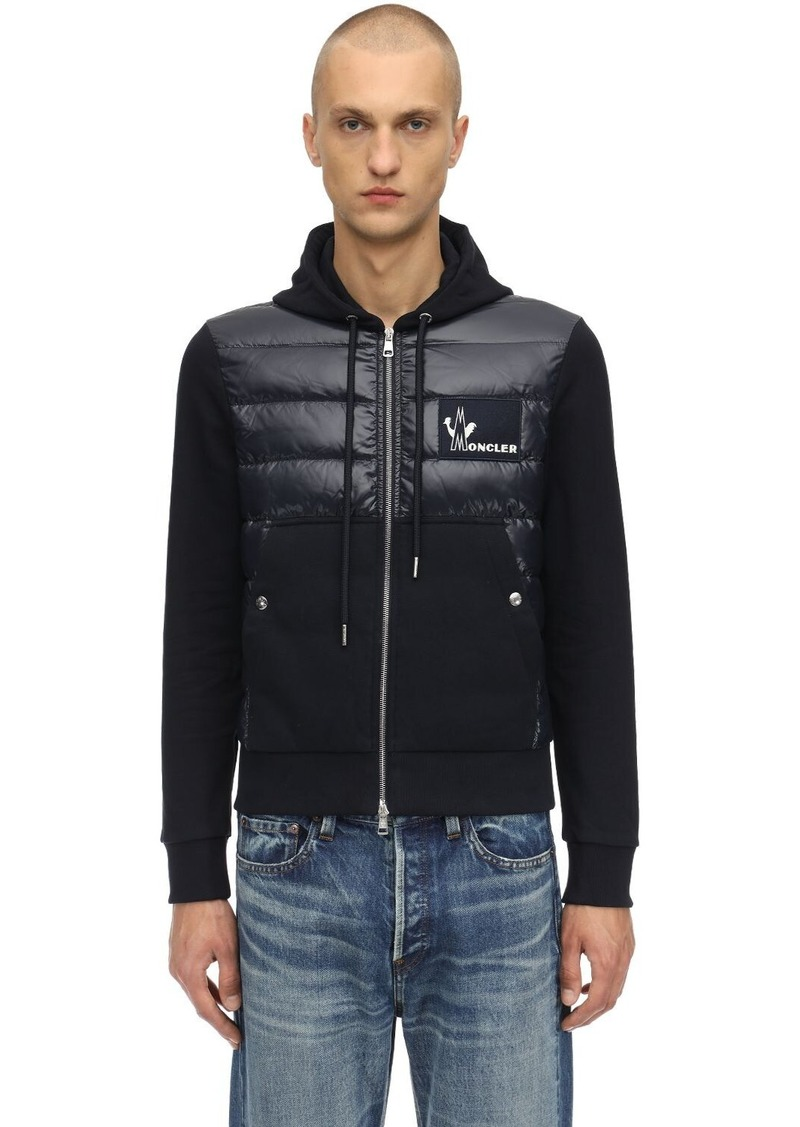 Moncler Hooded Nylon & Cotton Down Jacket