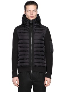 Moncler Hooded Nylon & Wool Knit Down Jacket