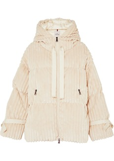 Moncler Hooded Quilted Corduroy Down Jacket