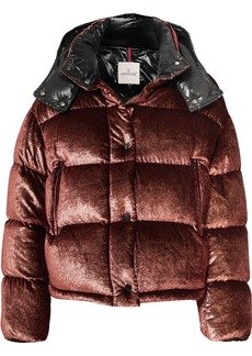 Moncler Hooded Quilted Metallic Velvet Down Jacket