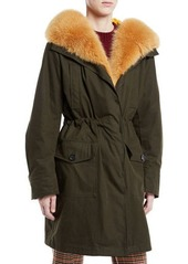 Moncler Hypolais Trench Coat w/ Fur Lining