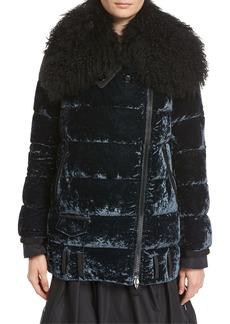 Moncler Isabelle Velvet Puffer Coat w/ Shearling Collar